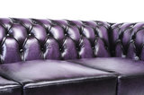 Chesterfield Sofa Original Leather | 1 + 1 + 3 seater  | Wash Off Purple | 12 years guarantee_