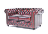 Chesterfield Sofa Original Leather | 1 + 2 seater  | Wash Off Red | 12 years guarantee_