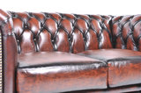 Chesterfield Sofa Original Leather | 1 + 2 seater  | Wash Off Brown | 12 years guarantee_