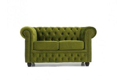 Chesterfield Fabric Velvet Green 2-seater sofa