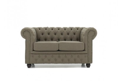 Chesterfield Fabric Pitch Beige 2-seater sofa