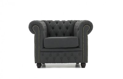Chesterfield Fabric Pitch Dark Gray Armchair