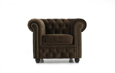 Chesterfield Fabric Velvet Brown Armchair