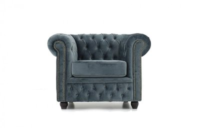Chesterfield Fabric Velvet Gray Armchair