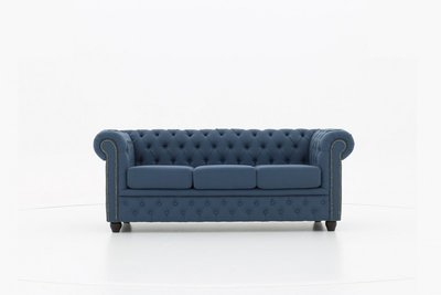 Chesteffield Fabric Pitch Blue 3-seater sofa