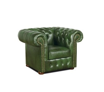 Chesterfield Armchair Class Leather | Cloudy Green