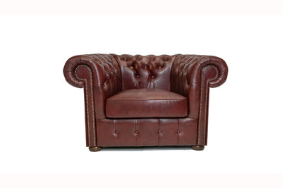 Chesterfield Armchair Class Leather   Cloudy Red   12 jaar Guarantee