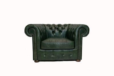 Chesterfield Armchair Class Leather   Cloudy Green   12 jaar Guarantee