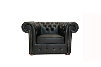 Chesterfield Armchair Class Leather   Shiny Black   12 jaar Guarantee