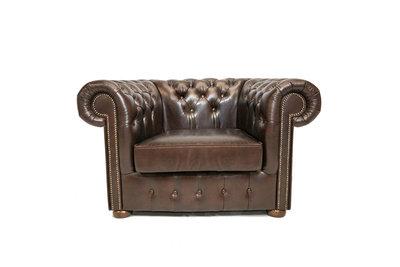 Chesterfield Armchair Class Leather   Cloudy Dark Brown   12 jaar Guarantee