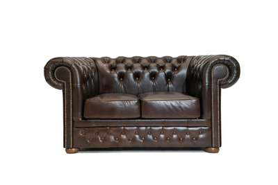 Chesterfield Sofa  First Class Leather | 2-Seater | Cloudy Brown Dark | 12 jaar Guarantee