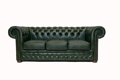 Chesterfield Sofa  First Class Leather | 3-Seater | Cloudy Green| 12 jaar Guarantee