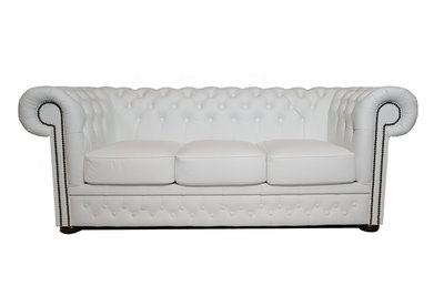 Chesterfield Sofa  First Class Leather | 3-Seater | White| 12 jaar Guarantee