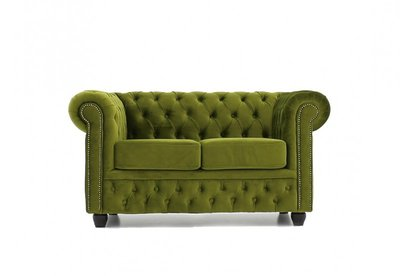 Chesterfield Fabric Velvet Green 2-seater sofa