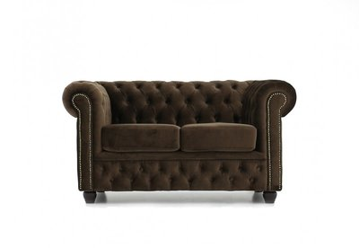Chesterfield Fabric Velvet Brown 2-seater sofa