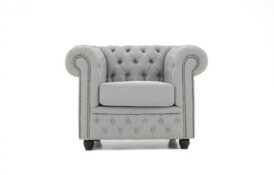 Chesterfield Fabric Pitch Light Gray sofa