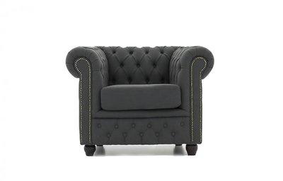 Chesterfield Fabric Pitch Dark Gray Armchair