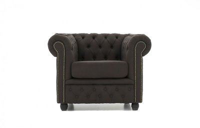 Chesterfield Fabric Pitch Brown Armchair