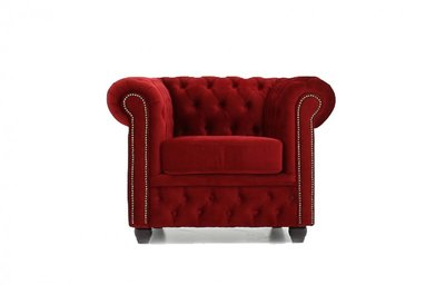Chesterfield Fabric Velvet Red Armchair