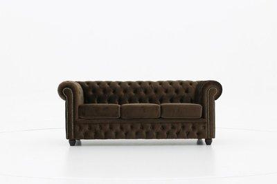 Chesterfield Fabric Velvet Brown 3-seater sofa