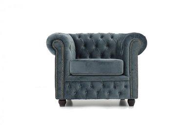 Chesterfield Fabric Velvet Gray Armchair