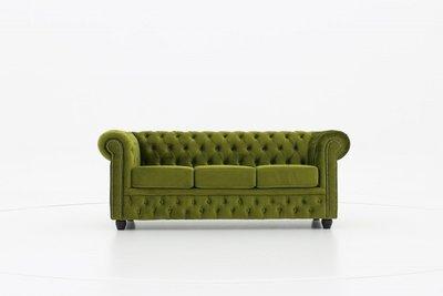 Chesterfield Sofa Fabric Velvet | 3-seater  | Green | 12 years guarantee