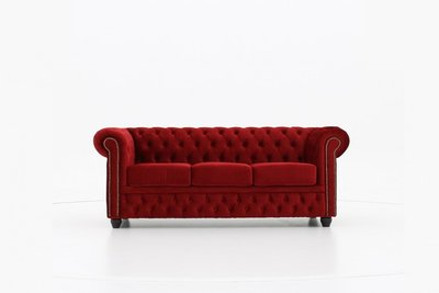 Chesterfield Fabric Velvet Red 3-seater sofa