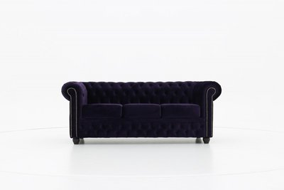 Chesterfield Fabric Velvet Dark Purple 3-seater sofa