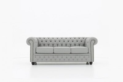 Chesterfield Fabric Pitch Light Grey 3-seater sofa