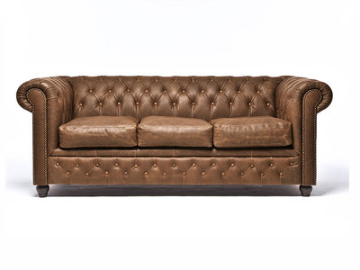 Chesterfield Sofa Vintage Leather   3-seater    Alabama C1059   12 years guarantee