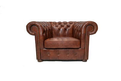 Chesterfield Armchair Class Leather   Cloudy Brown Old   12 jaar Guarantee