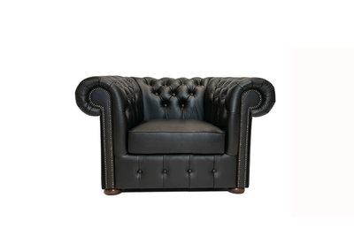 Chesterfield Armchair Class Leather | Shiny Black | 12 jaar Guarantee