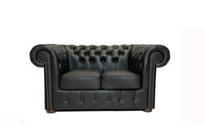 Chesterfield Sofa Class Leather | 2-Seater | Shiny Black| 12 jaar Guarantee