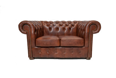 Chesterfield Sofa Class Leather | 2-Seater | Cloudy Brown Old | 12 jaar Guarantee