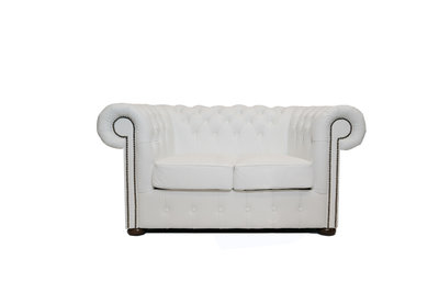 Chesterfield Sofa Class Leather   2-Seater   White   12 jaar Guarantee