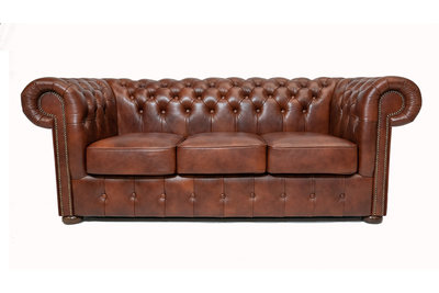 Chesterfield Sofa Class Leather | 3-Seater | Cloudy Brown Old | 12 jaar Guarantee