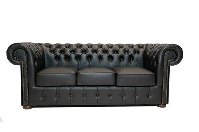 Chesterfield Sofa Class Leather | 3-Seater | Shiny Black | 12 jaar Guarantee