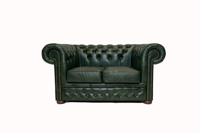 Chesterfield Sofa  First Class Leather | 2-Seater | Cloudy Green| 12 jaar Guarantee