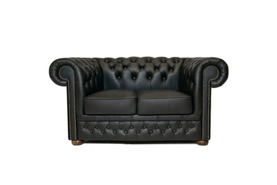 Chesterfield Sofa  First Class Leather | 2-Seater | Shiny Black| 12 jaar Guarantee