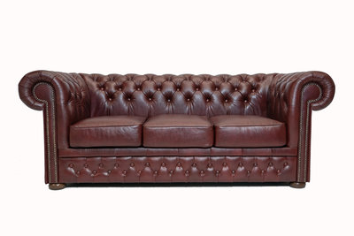 Chesterfield Sofa  First Class Leather   3-Seater   Cloudy Red  12 jaar Guarantee