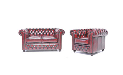 Chesterfield Sofa Original Leather | 1 + 2 seater  | Wash Off Red | 12 years guarantee