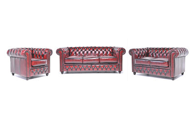 Chesterfield Sofa Original Leather | 1 + 2 + 3 seater  | Wash Off Red | 12 years guarantee