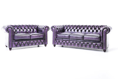Chesterfield Sofa Original Leather | 2 + 3 seater  | Wash Off Purple | 12 years guarantee