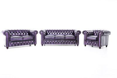 Chesterfield Sofa Original Leather   1 + 2 + 3 seater    Wash Off Purple   12 years guarantee
