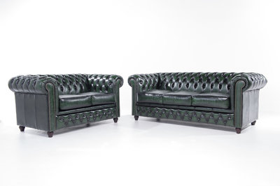Chesterfield Sofa Original Leather   2 + 3 seater    Wash Off Green   12 years guarantee