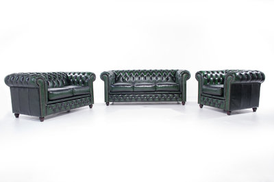 Chesterfield Sofa Original Leather | 1 + 2 + 3 seater  | Wash Off Green | 12 years guarantee