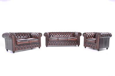 Chesterfield Sofa Original Leather | 1 + 2 + 3 seater  | Wash Off Brown | 12 years guarantee