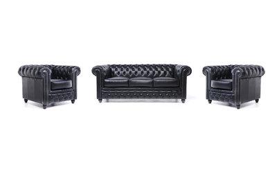 Chesterfield Sofa Original Leather | 1 + 1 + 3 seater  | Black | 12 years guarantee