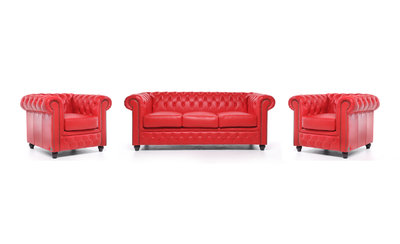 Chesterfield Sofa Original Leather | 1 + 1 + 3 seater  | Red | 12 years guarantee