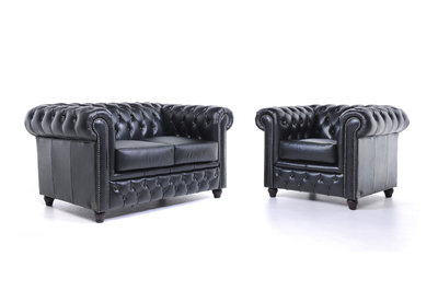 Chesterfield Sofa Original Leather | 1 + 2 seater  | Black | 12 years guarantee